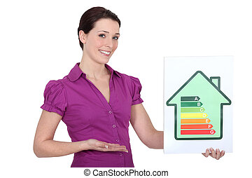 Woman with an energy rating sign