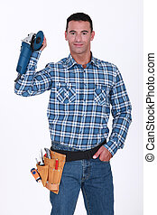 Man holding an angle grinder