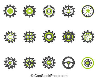 gear and cog icons,green series - isolated gear and cog...