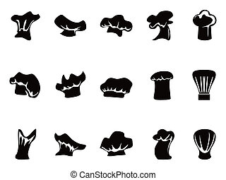 chef hats icon set - isolated black chef hats icon set on...