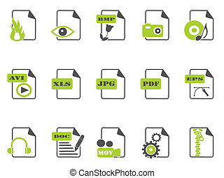 files icon set,green series - isolated files icon set with...