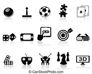 fun game icons set - isolated black fun game icons set on...