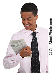 young businessman reading the journal
