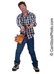 A disoriented man holding a multimeter