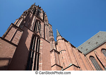 Closeup to building of Frankfurt Cathedral - Closeup view of...