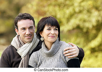 amoroso, pareja, ambulante, bosque