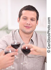 Man toasting with wine