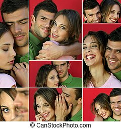 Montage of a young couple in love