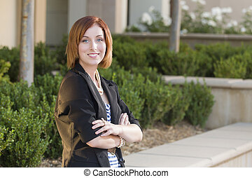 Young Pretty Businesswoman Portrait Outside