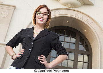 Young Pretty Businesswoman Outside in Front of City Hall