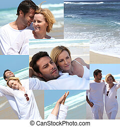 Montage of couple dressed in white at the beach