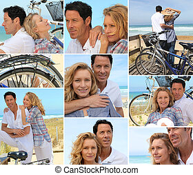 Various shots of a couple with bikes by the sea