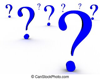 question - The blue question marks on a white background
