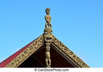 Maori Marae - Traditional Maori wood carvings in a Marae...