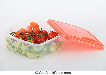 Fresh crudites in a plastic box