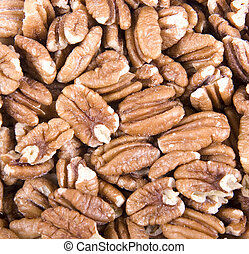 Roasted Salted Pecans - A close up of fresh roasted and...