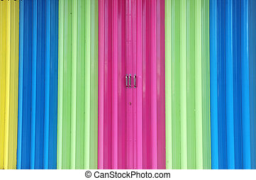 colorful paint on metal sliding doors