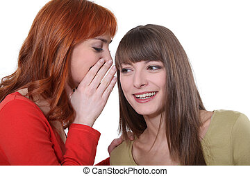 Young woman whispering a secret into her friends ear