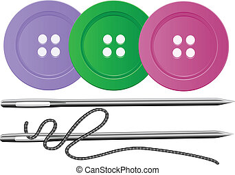 Needle and Thread,Buttons,Vector - Needle Thread and three...