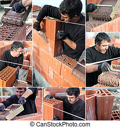 Collage of a bricklayer