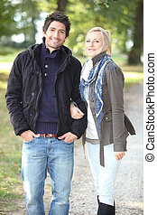 Couple walking in the park
