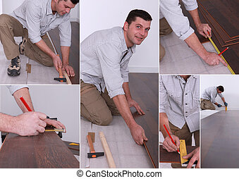 Montage on man laying laminate flooring