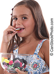 Girl eating sweets
