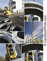 Montage of construction site