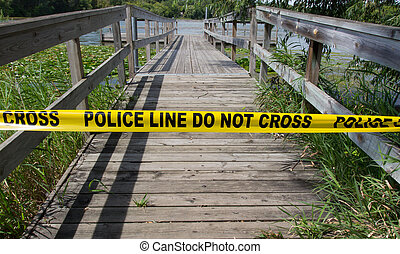 Crime Scene Tape - Police warn passers-by to stay away from...