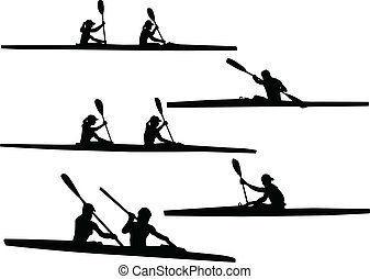 rowing - vector - illustration of rowing - vector