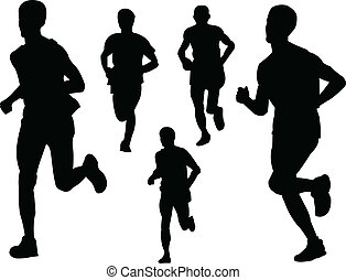 running people 2 - vector - illustration of running people -...
