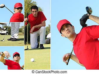 Collage of a man playing golf