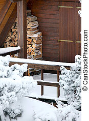 legno, cabina, neve
