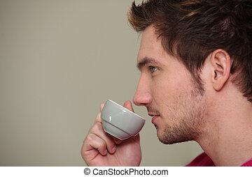 Man enjoying his morning coffee