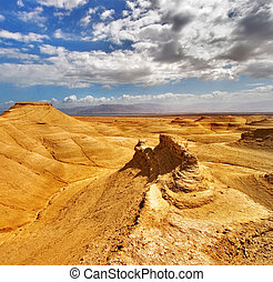 Yellow desert. Picturesque ancient mountains about the Dead...