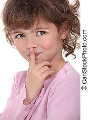 A little girl guarding a secret.