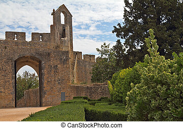 The beautiful architecture of the castle Templars in Tomar...