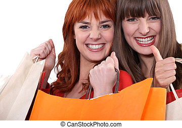袋子, 朋友, 購物, 二, 女性