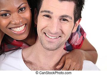 heureux, interracial, couple