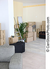 Interior of apartment during moving