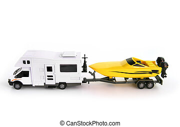 Toy camper van and speed boat