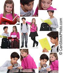 montagem,  schoolchildren