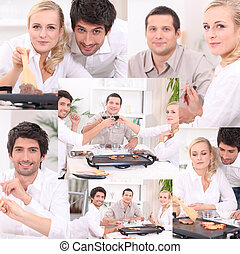 Montage of friends eating dinner at home