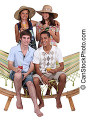 Young people on holiday together