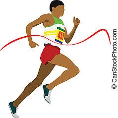 Man running hurdles. Vector illust