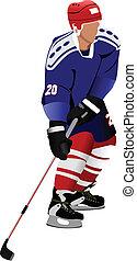 Ice hockey players.  Vector illust