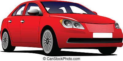 Car sedan on the road Vector illustration