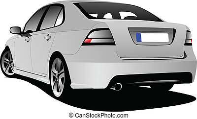 Car sedan on the road. Vector illustration