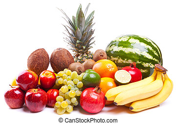bunch of fresh fruits on white background