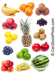 collection of fresh fruits - collection of fresh tropical...
